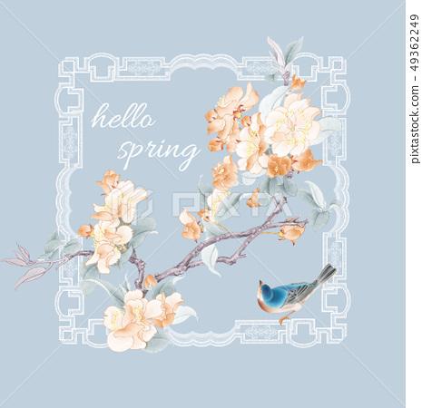 傳統花卉圖案設計,優雅的水彩花 49362249