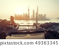 Shanghai city sunrise aerial view with Pudong business district 49363345