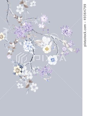 優雅的手繪水彩花,水彩大花朵 49364799