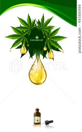 Marijuana plant and cannabis oil drop vector. 49366999