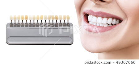Collage of teeth palette with whitening female teeth. 49367060