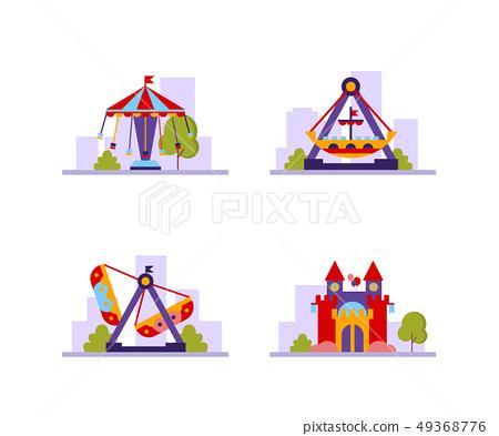 Amusement Park Different Attractions Set, Carousels, Castle Vector Illustration 49368776