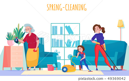 Women Cleaning Home  49369042