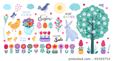Set of Easter design elements. Hand drawn eggs, chicken, flowers, tulips, birds, rabbit and 49369754