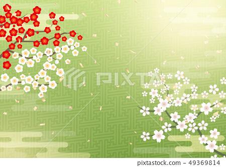 與櫻花的日本式背景 49369814