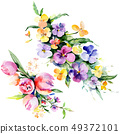 Bouquets floral botanical flowers. Watercolor background illustration set. Isolated bouquet 49372101
