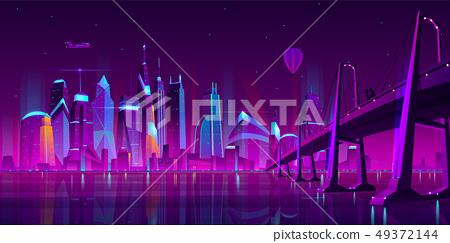 Night city futuristic landscape vector background 49372144