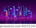 Night city futuristic landscape vector background 49372145