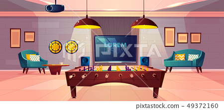 Recreation room in home basement cartoon vector 49372160