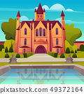 Victorian mansion with fountain cartoon vector 49372164