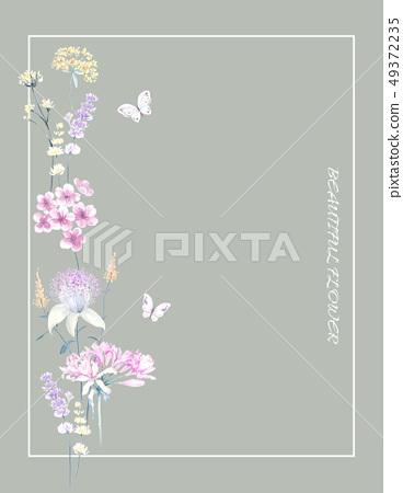 Elegant hand painted watercolor floral pattern 49372235