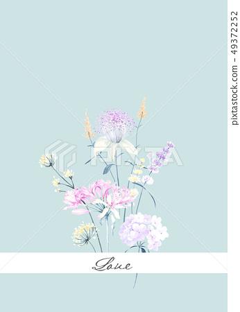 優雅的手繪水彩花卉圖案 49372252