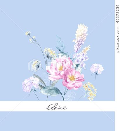 優雅的手繪水彩花卉圖案 49372254
