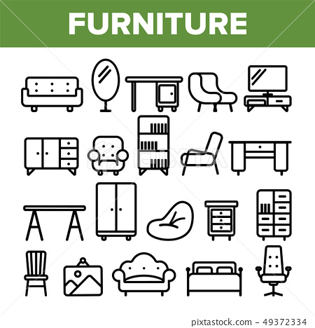 Room Furniture Line Icon Set Vector. Interior Cabinet Design. Home Room Furniture Elements. Thin 49372334