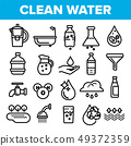 Clean Water Line Icon Set Vector. Nature Care. Drop Fresh Clean Water. Drink Eco Icon. Thin Outline 49372359