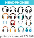 Headphones Icon Set Vector. Audio Stereo Headphones Icons. Volume Symbol. Listen Music. Acoustic 49372360