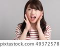 驚訝的年輕日本女子震驚的吶喊 49372578