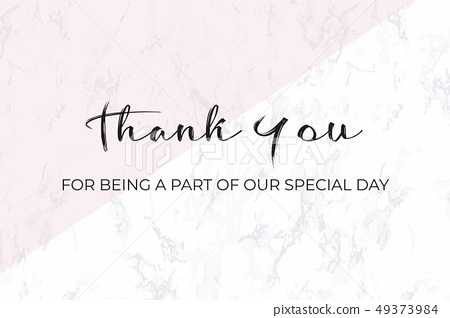 Thank you card design template. White marble 49373984