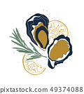 Isolated oysters, lemon slices and rosemary 49374088