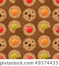 Beige seamless pattern with cookies and hearts. 49374433