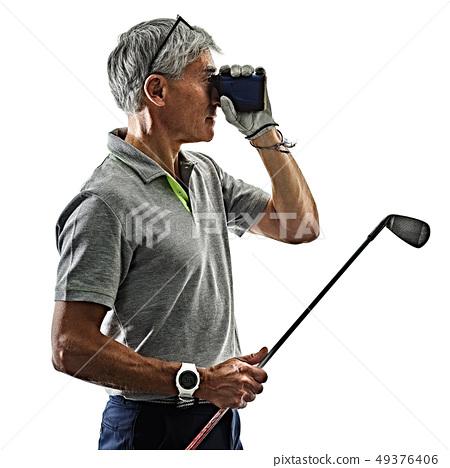 senior man golfer golfing  shadow silhouette isolated white background 49376406