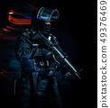 one soldier police swat tactical forces man isolated black backg 49376469