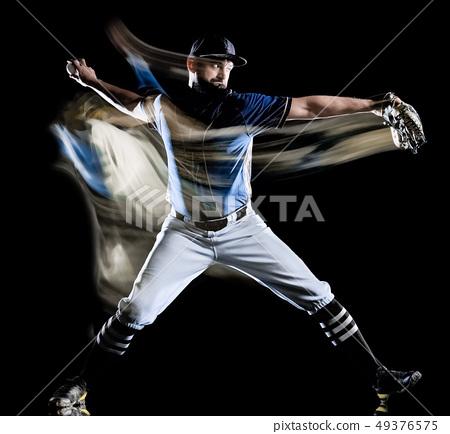 baseball player man isolated black background light painting 49376575
