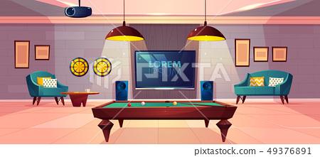Recreation room in home basement cartoon vector 49376891