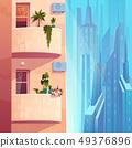 Balconies in modern skyscraper building vector 49376896