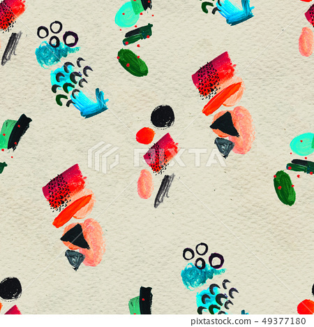 Seamless pattern made by hand drawn paint strokes. 49377180