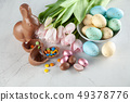 Easter chocolate bunny and eggs 49378776