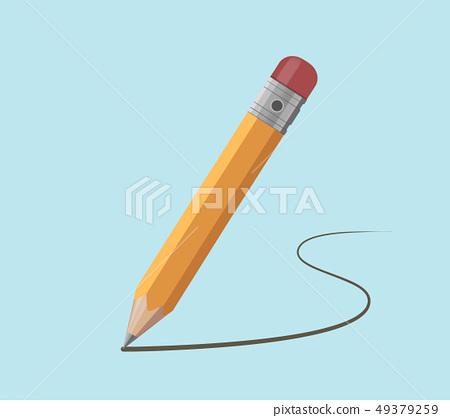 Pencil draws a contour. Flat graphics vector 49379259