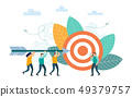 Successful businessman aiming arrow towards target 49379757