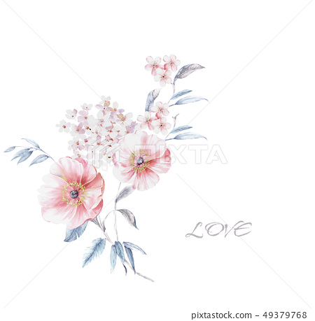 漂亮的水彩花卉 49379768
