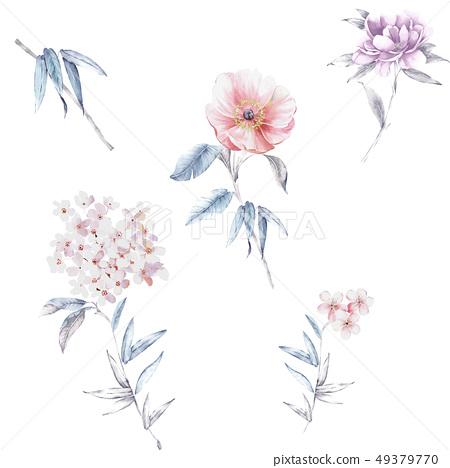 漂亮的水彩花卉 49379770