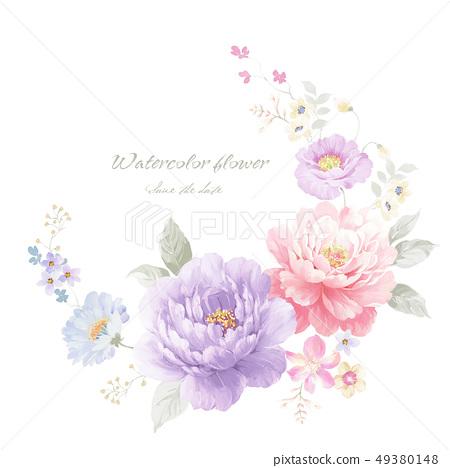 아름다운 수채화 작약 꽃 49380148