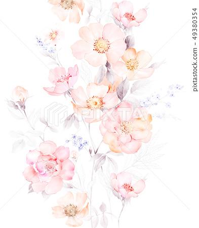 顏色柔和的水彩花卉組合 49380354