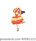 Happy Girl in Colorful Dress Dancing at Folklore Party, Traditional Brazil June Festival, Festa 49381122