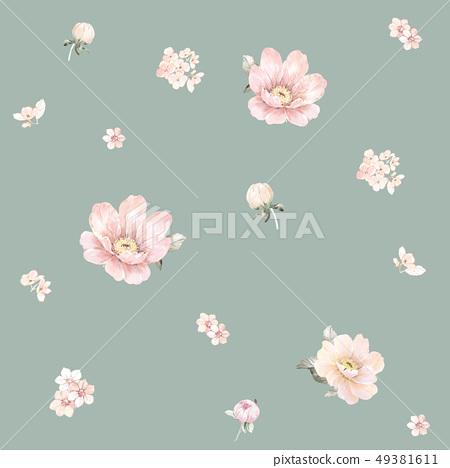 手繪水彩盛開的大花朵 49381611