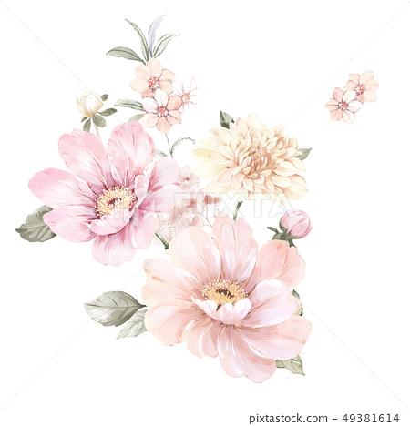 手繪水彩盛開的大花朵 49381614