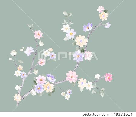 浪漫的水彩花卉 49381914