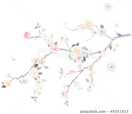 Romantic watercolor flower 49381915