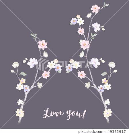 浪漫的水彩花卉 49381917