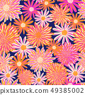 Bright Summer flowers seamless vector pattern. Pink orange white Daisy and Aster flowers on blue 49385002