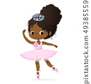 Cute African Princess Girl Ballerina Dance Isolated. Afro Ballet Dancer Sweet Baby Character Jump 49385559