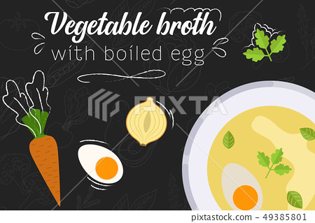 Soup recipe. Food in flat style. Flat style 49385801