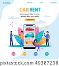 Car Rent Landing Page. Flat Person Illustration. 49387238