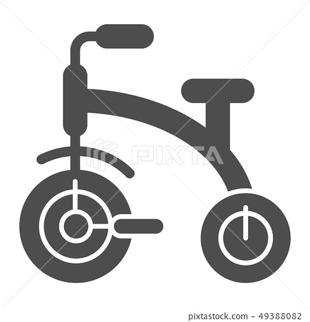 Kids tricycle solid icon. Children s tricycle bike vector illustration isolated on white. Baby bike 49388082