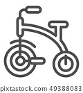 Kids tricycle line icon. Children s tricycle bike vector illustration isolated on white. Baby bike 49388083