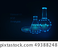 Futuristic science background with glowing low polygonal beakers and petri dish on dark blue. 49388248
